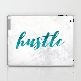 Blue Hustle Text Marble Laptop & iPad Skin