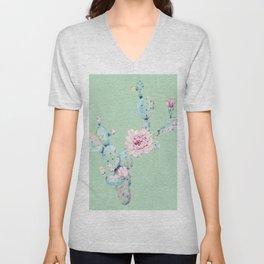 Rose Desert Cactus Mint Green + Pink Unisex V-Neck
