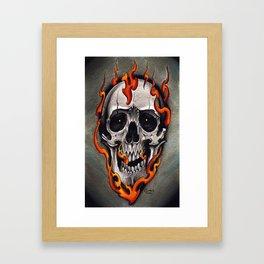 Skull in Flames Framed Art Print