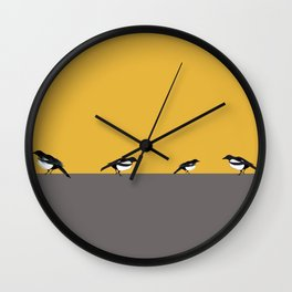 Mustard Magpies Wall Clock