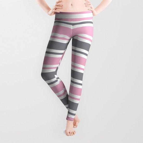 Pastel Pink & Gray & White Stripe Pattern by nlmiller07art