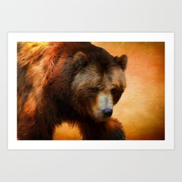 Grizzly Bear Painted Art Print