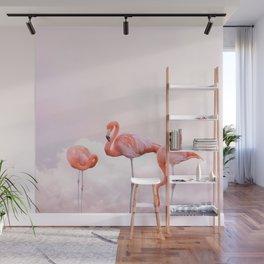 Flamingos and Pink Sunset | Landscape Photography | Nature | Coastal Wall Mural