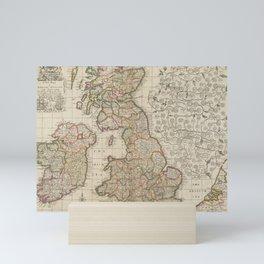 Beautiful 1687 Vintage Color Map of England, Scotland, and Ireland Mini Art Print