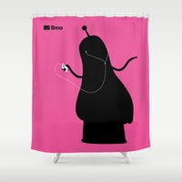 princess bubblegum Shower Curtains featuring Bmo's Campaign x Bubblegum Princess. by Agu Luque