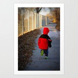 Boy Running from Christmas Art Print