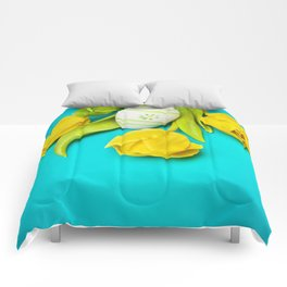 Spring Yellow Tulips and Easter Egg Comforters