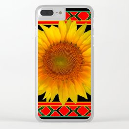 RED-TEAL BLACK  DECO YELLOW SUNFLOWERS Clear iPhone Case