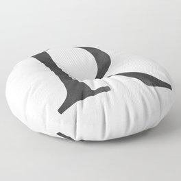 Letter R Initial Monogram Black and White Floor Pillow