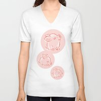 pig V-neck T-shirts featuring Pig by Toru Sanogawa
