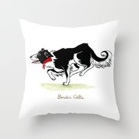 border collie Throw Pillows featuring Border Collie by Monica McClain