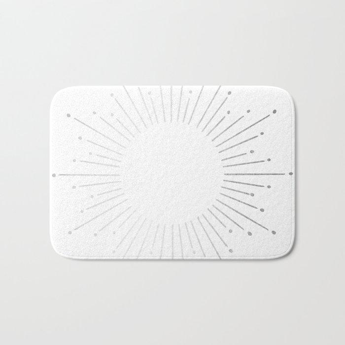 Sunburst Moonlight Silver on White Bath Mat