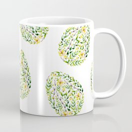 Artistic hand painted yellow green watercolor floral easter eggs Coffee Mug