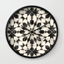 Black and white marble Moroccan mosaic Wall Clock