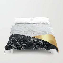 White Marble Black Granite & Gold #944 Duvet Cover