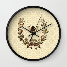 Vintage Bee Wreath Wall Clock