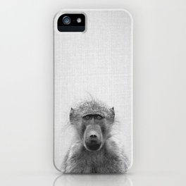 Baboon - Black & White iPhone Case