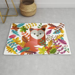 Cute Fox with Autumn Leaves Rug
