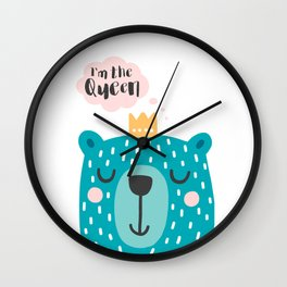 Cute Babies - I'm the queen Clear Wall Clock