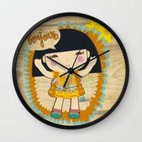 bonjour Wall Clocks featuring Bonjour by maru y su cabeza