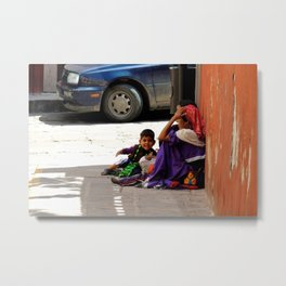 Huichola woman with her kids Metal Print