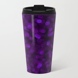 Purple Ultra Violet Glitter Bokeh Glam Pattern Metal Travel Mug