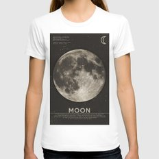 The Moon White Womens Fitted Tee X-LARGE