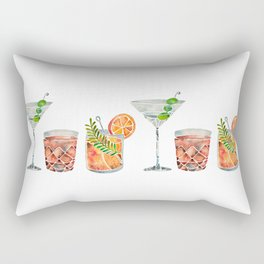 Classic Cocktails  – 1960s Watercolor Lineup Rectangular Pillow