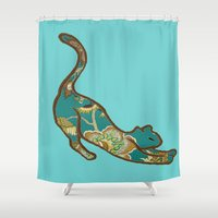 jewish Shower Curtains featuring I love you Kitten in Blue-Green by Brown Eyed Lady