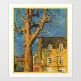 Yellow House Old Tree Landscape Normandy France, Pastel Painting Art Print