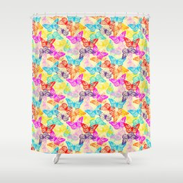 Multicolored Butterflies Pattern Shower Curtain