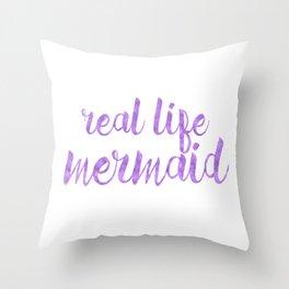 Real Life Mermaid in Purple Throw Pillow