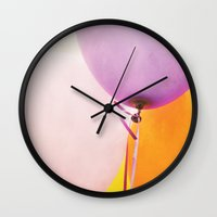 balloons Wall Clocks featuring Balloons by Bella Blue Photography