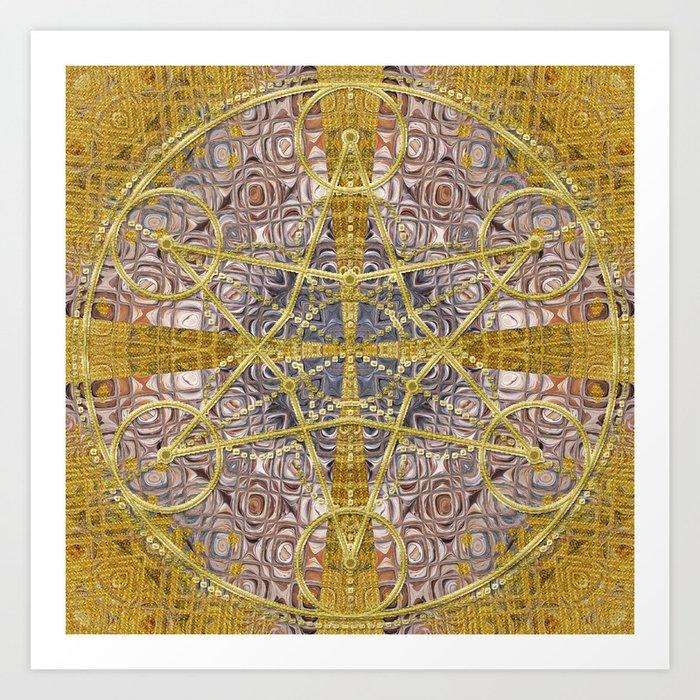 Golden Steampunk Geometry Star Art Print