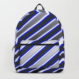 TEAM COLORS 1...Black, gray, white, blue diagonal stripe Backpack