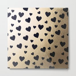 Hearts pattern - gold and dark blue Metal Print