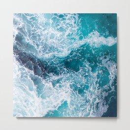 Aqua Jade Ocean Waters With Bubbly, Foamy Surf Metal Print
