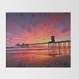 Sunset Huntington Beach Pier CA   Throw Blanket