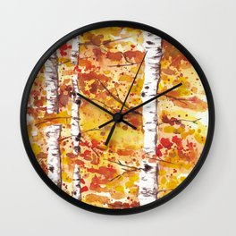 Fall Birch Trees Wall Clock