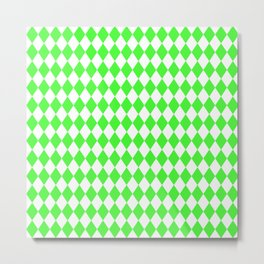 Bright Neon Green and White Harlequin Diamond Check Metal Print