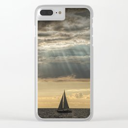 Sailboat Sailing in Lake Michigan beneath Sunbeams Clear iPhone Case