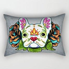 French Bulldog in White - Day of the Dead Sugar Skull Dog Rectangular Pillow