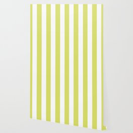 Bored accent green -  solid color - white vertical lines pattern Wallpaper