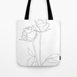 Two Minimal Roses Tote Bag