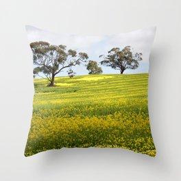 Canola Yellow Landscape Throw Pillow