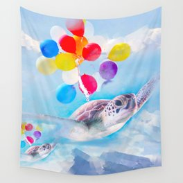 Cute Turtle Flying With Balloons Wall Tapestry