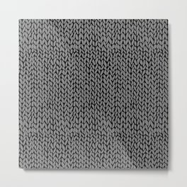 Hand Knit Dark Grey Metal Print