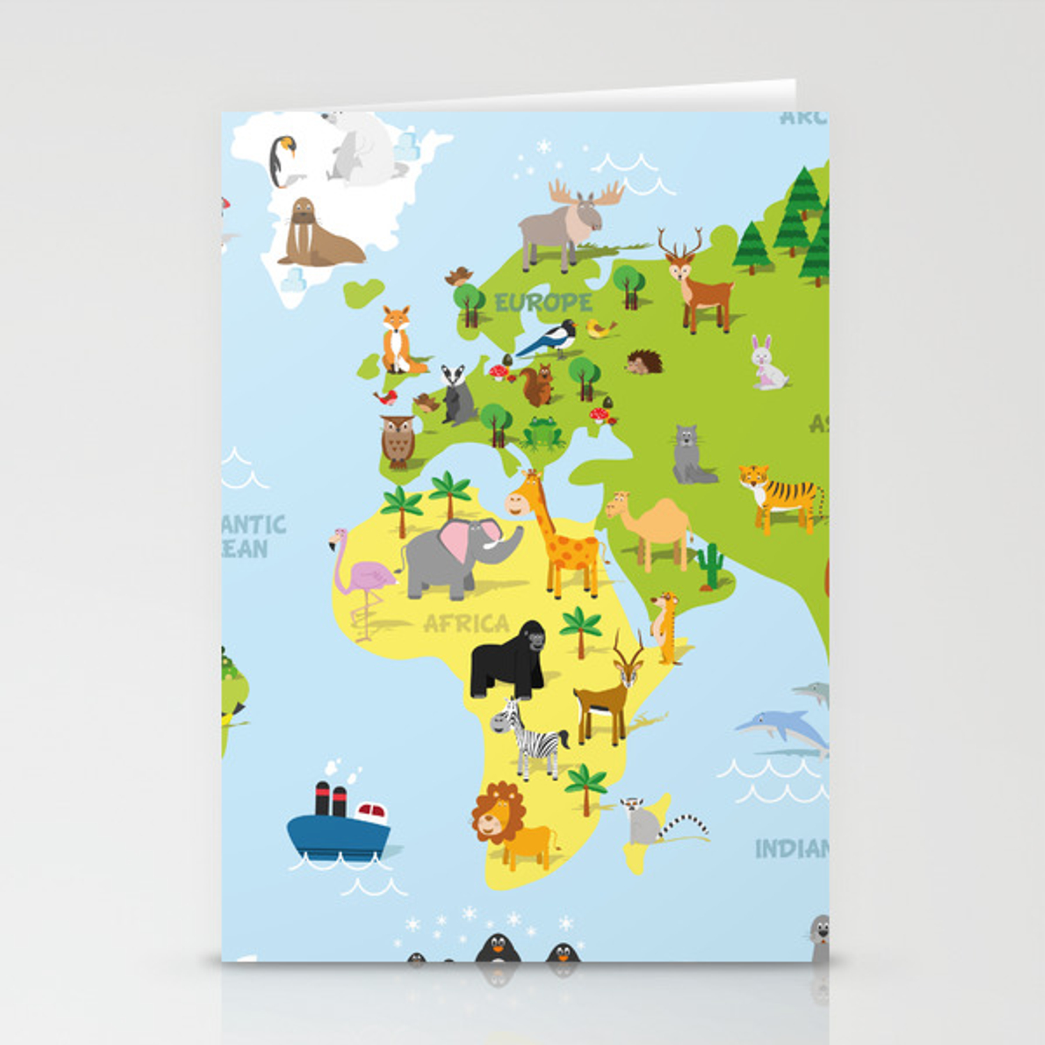 Funny cartoon world map with traditional animals of all the continents and  oceans Stationery Cards by 79dsigns