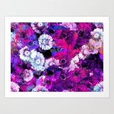 Floral glitch art Art Print