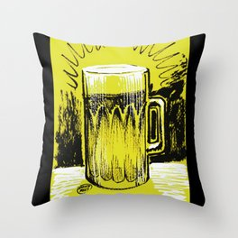 Beer_Yellow Throw Pillow